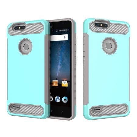 Rugged Dual Layer Hybrid Shockproof Defender Phone Case Cover for ZTE Blade Z MAX - Teal&Gray