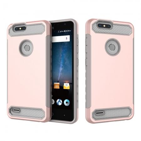 Rugged Dual Layer Hybrid Shockproof Defender Phone Case Cover for ZTE Blade Z MAX - Rose gold&Gray