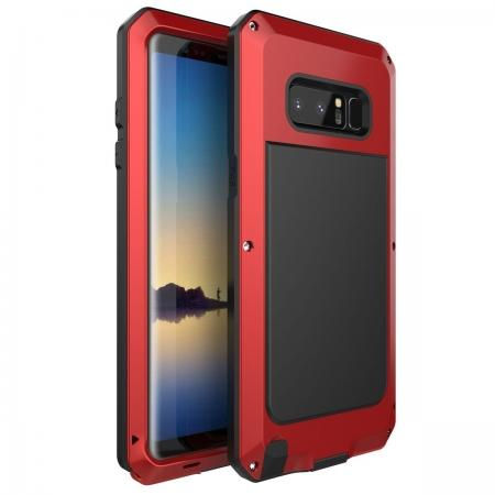 Aluminum Metal Shockproof Heavy Duty Cover Case for Samsung Galaxy Note 8 - Red