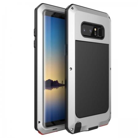 Aluminum Metal Shockproof Heavy Duty Cover Case for Samsung Galaxy Note 8 - Silver