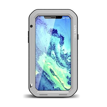 Aluminum Metal Shockproof Waterproof Glass Case Cover for iPhone X - Silver