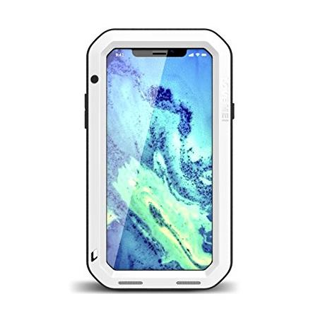 Aluminum Metal Shockproof Waterproof Glass Case Cover for iPhone X - White