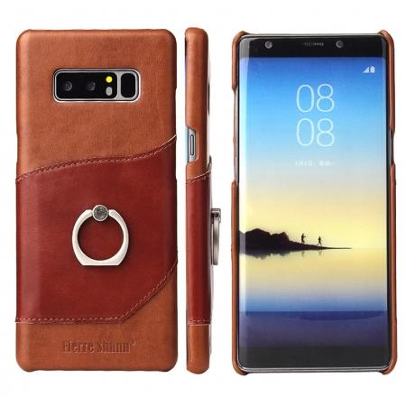 Genuine Real Leather Buckle Ring Back Case Cover for Samsung Galaxy Note 8 - Brown