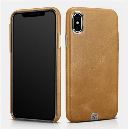 ICARER Genuine Leather Back Case Cover for iPhone X - Khaki