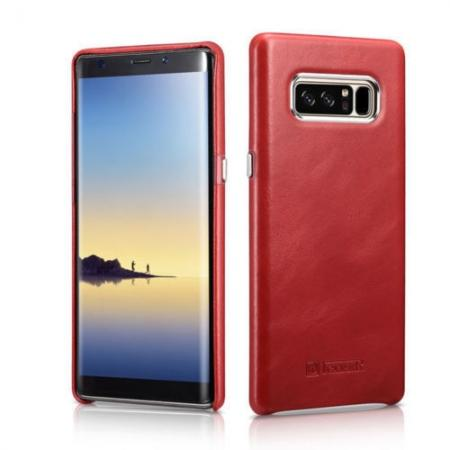 ICARER Genuine Real Leather Back Case Cover For Samsung Galaxy Note 8 - Red