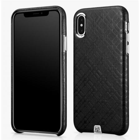 Luxury Real Genuine Leather Back Case Cover for iPhone X - Black