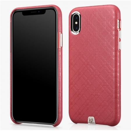 Luxury Real Genuine Leather Back Case Cover for iPhone X - Red