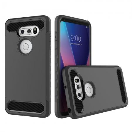 Carbon Fiber Design Rugged Armor Shockproof Protective Case Cover For LG V30 / V30 Plus - Black