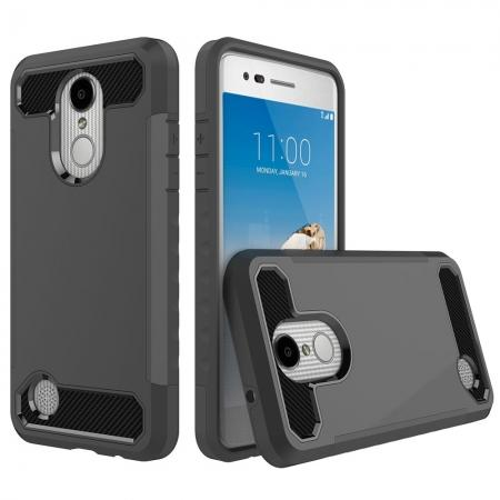 Carbon Fiber Design Rugged Armor Shockproof Protective Case for LG Aristo / K8 (2017) - Black