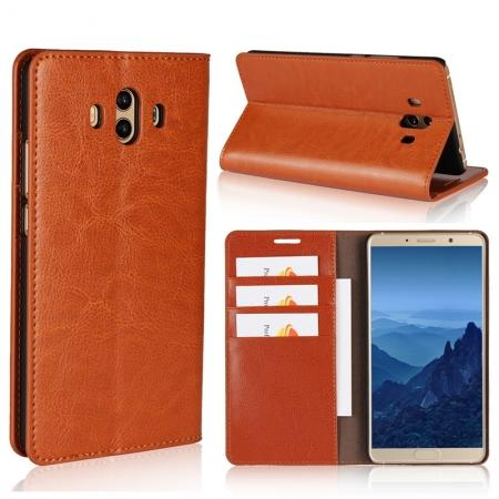 Crazy Horse Genuine Leather Case Wallet Flip Stand Cover Card Slot  for Huawei Mate 10 - Brown