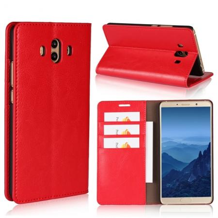 Crazy Horse Genuine Leather Case Wallet Flip Stand Cover Card Slot  for Huawei Mate 10 - Red