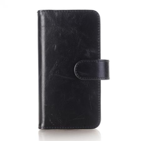 Luxury Crazy Horse Leather Flip Case Wallet With Card Holder for iPhone X - Black