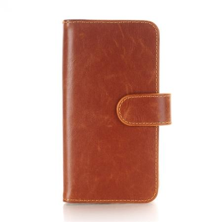 Luxury Crazy Horse Leather Flip Case Wallet With Card Holder for iPhone X - Brown