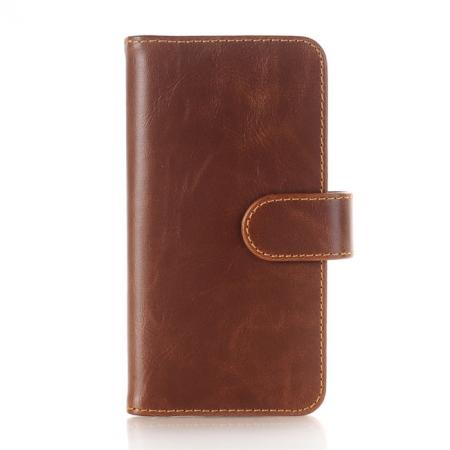 Luxury Crazy Horse Leather Flip Case Wallet With Card Holder for iPhone X - Dark Brown