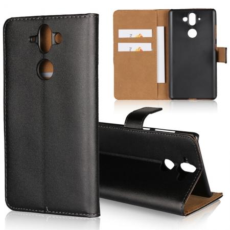 Luxury Genuine Leather Magnetic Flip Stand Wallet Case Cover For Nokia 9 - Black
