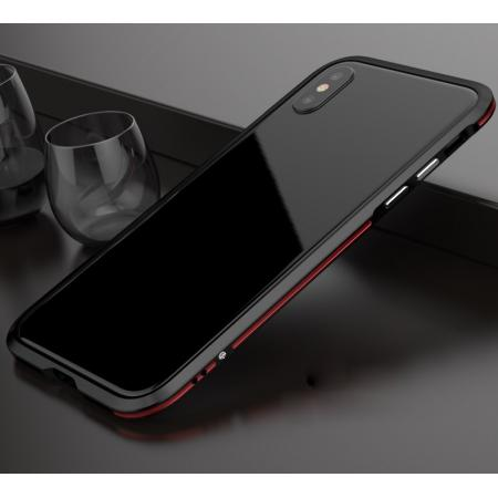 Premium Dual Color Aluminum Metal Frame Case for iPhone X - Black&Red