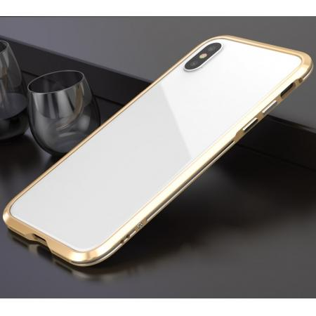 Premium Dual Color Aluminum Metal Frame Case for iPhone XS / X - Gold&Silver