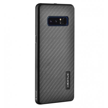 Aluminum Metal Bumper Frame Case+Carbon Fiber Back Cover For Samsung Galaxy Note 8 - Black