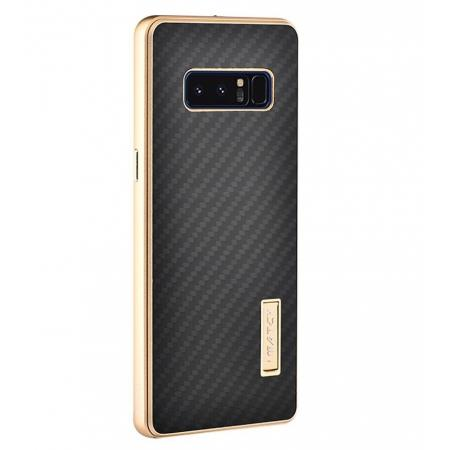 Aluminum Metal Bumper Frame Case+Carbon Fiber Back Cover For Samsung Galaxy Note 8 - Gold&Black