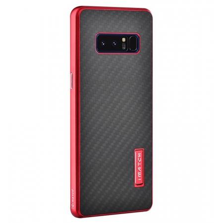 Aluminum Metal Bumper Frame Case+Carbon Fiber Back Cover For Samsung Galaxy Note 8 - Red&Black