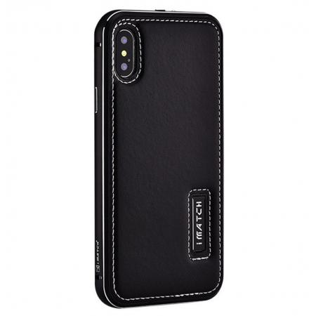 Aluminum Metal Bumper Frame Case+Real Genuine Cow Leather Back Cover for iPhone XS / X - Black