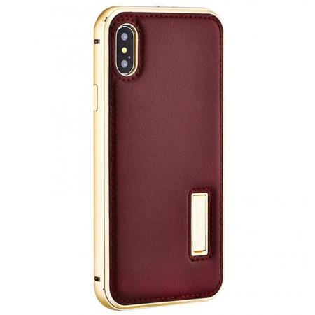Aluminum Metal Bumper Frame Case+Real Genuine Cow Leather Back Cover for iPhone XS / X - Gold&Brown