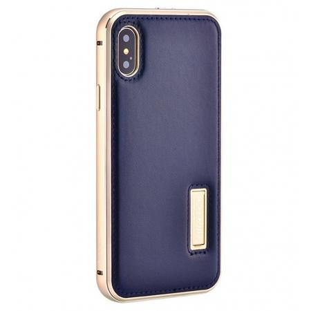 Aluminum Metal Bumper Frame Case+Real Genuine Cow Leather Back Cover for iPhone XS / X - Gold&Dark Blue