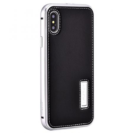 Aluminum Metal Bumper Frame Case+Real Genuine Cow Leather Back Cover for iPhone XS / X - Silver&Black