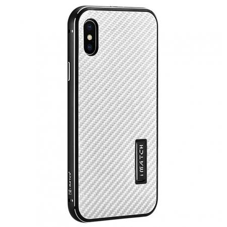 Aluminum Metal Bumper Frame Shockproof Case+Carbon Fiber Back Cover For iPhone XS / X - Black&Silver