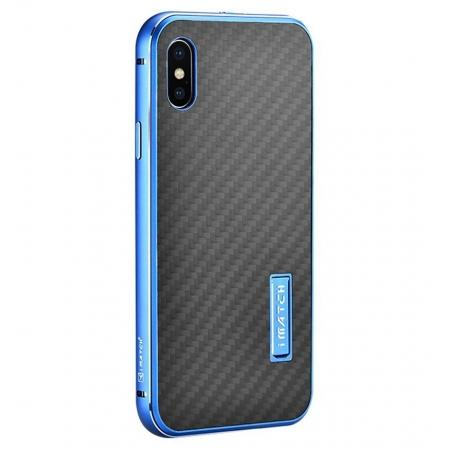 Aluminum Metal Bumper Frame Shockproof Case+Carbon Fiber Back Cover For iPhone XS / X - Blue&Black