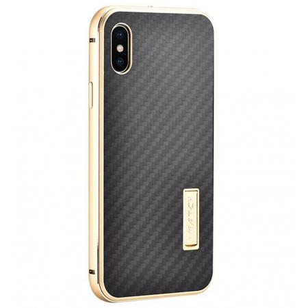 Aluminum Metal Bumper Frame Shockproof Case+Carbon Fiber Back Cover For iPhone XS / X - Gold&Black