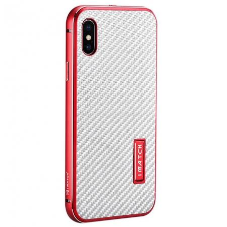 Aluminum Metal Bumper Frame Shockproof Case+Carbon Fiber Back Cover For iPhone X - Red&Silver