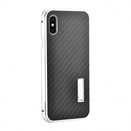 Aluminum Metal Bumper Frame Shockproof Case+Carbon Fiber Back Cover For iPhone XS / X - Silver&Black