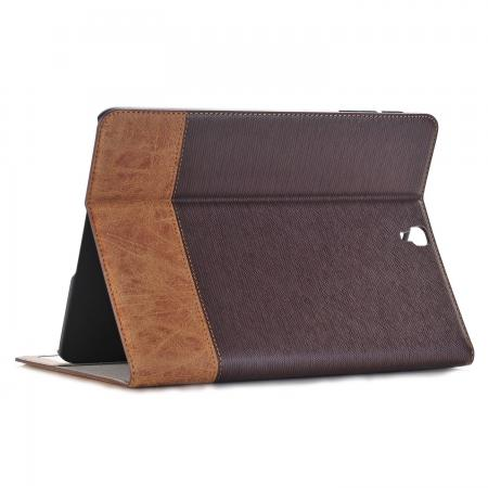 Leather Wallet Stand Folio Flip Smart Cover Case for Samsung Galaxy Tab S3 9.7Inch T820/T825 - Brown