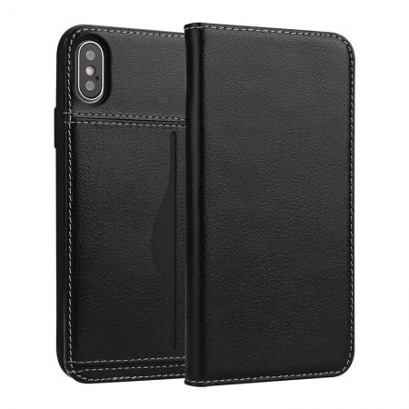 Luxury Genuine Cow Leather Card Slot Slim Flip Case for iPhone X 8 7 6s Plus - Black