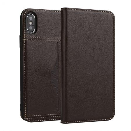 Luxury Genuine Cow Leather Card Slot Slim Flip Case for iPhone X 8 7 6s Plus - Coffee