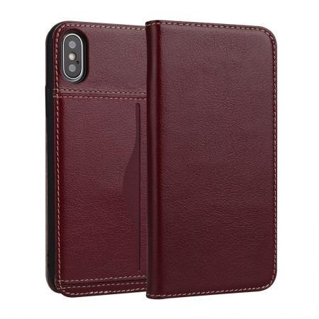 Luxury Genuine Cow Leather Card Slot Slim Flip Case for iPhone X 8 7 6s Plus - Wine Red