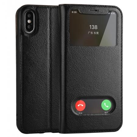 Luxury Genuine Leather Stand Case Dual Window View for iPhone X - Black