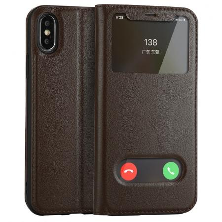 Luxury Genuine Leather Stand Case Dual Window View for iPhone X - Coffee