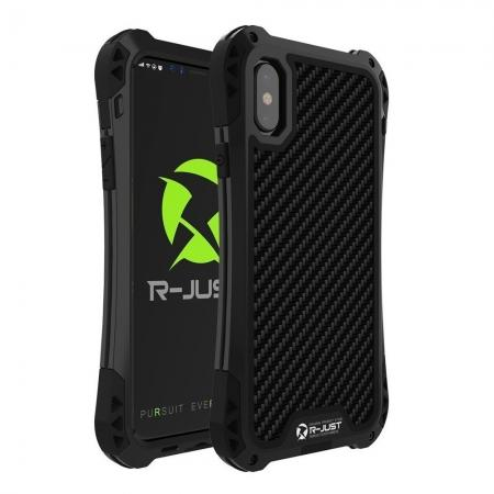 Shockproof DropProof DirtProof Carbon Fiber Metal Gorilla Glass Armor Case for iPhone XS / X - Black