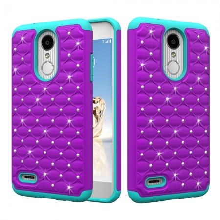 Cute Girls Women Bling Glitter Hybrid Full Body Phone Case Cover For LG Tribute Dynasty / Aristo 2 - Purple&Teal