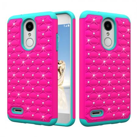 Cute Girls Women Bling Glitter Hybrid Full Body Phone Case Cover For LG Tribute Dynasty / Aristo 2 - Rose&Teal