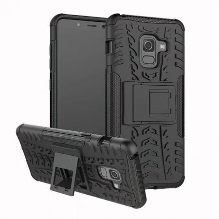 For Samsung Galaxy A8 2018 Case Rugged Armor Protective Cover with Kickstand - Black