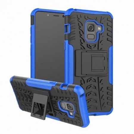 For Samsung Galaxy A8 2018 Case Rugged Armor Protective Cover with Kickstand - Blue