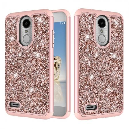 Luxury Bling Glitter Hard Plastic Back Case Cover For LG Tribute Dynasty / LG Aristo 2 - Rose gold