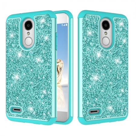Luxury Bling Glitter Hard Plastic Back Case Cover For LG Tribute Dynasty / LG Aristo 2 - Teal