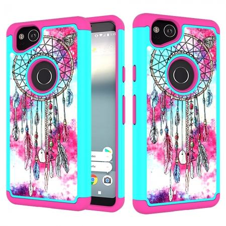 Patterned Hybrid Dual Layer Full-body Protective Case Cover For Google Pixel 2 - Dream Catcher