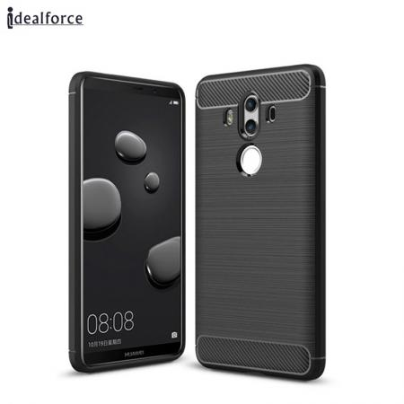 Silicone Soft TPU Shockproof Brushed Carbon Fiber Case for Huawei Mate 10 Pro - Black