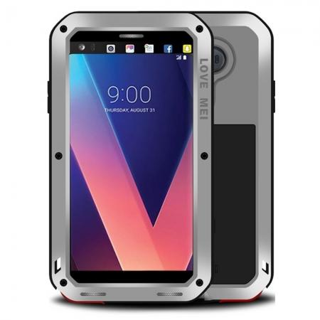 Aluminum Metal Bumper Gorilla Glass Silicone Military Shockproof Water resistant Case For LG V30 - Silver