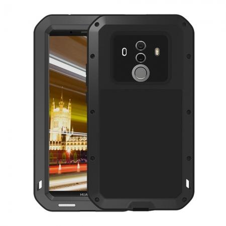 Shockproof Aluminum Metal Silicone Fully Body Protection Case for Huawei Mate 10 Pro - Black